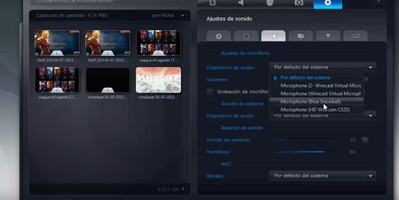 configurar audio action